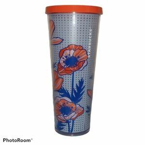 Starbucks Coffee Tumbler - Coral & Blue Floral